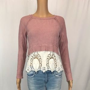 American Eagle Outfitters Sweaters - American Eagle sweater with lace size small womens